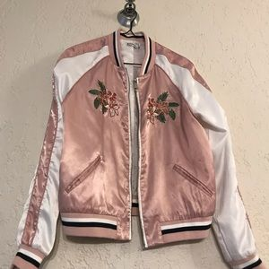 Pink white and floral bomber jacket